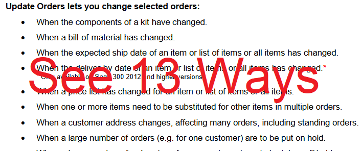 Update Orders Features